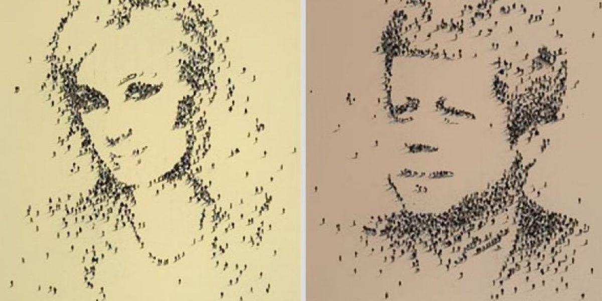 Retratos hechos con pixeles humanos
