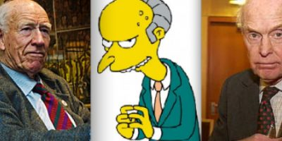 Mr Burns está basado en el millonario noruego Olav Thon(izquierda), famoso por haber comprado varias industrias en su pueblo natal con el único fin de cerrarlas. Se dice que Groening también pensó en el magnate Frederick Olsen, dueño de varias empresas, entre ellas la que produce los relojes Timex. Foto:www.neatorama.com