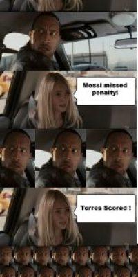 – Así que Barcelona derrotó al Chelsea. – Chelsea clasificó a la final. – Messi falló el penalti. – Torres marcó gol.