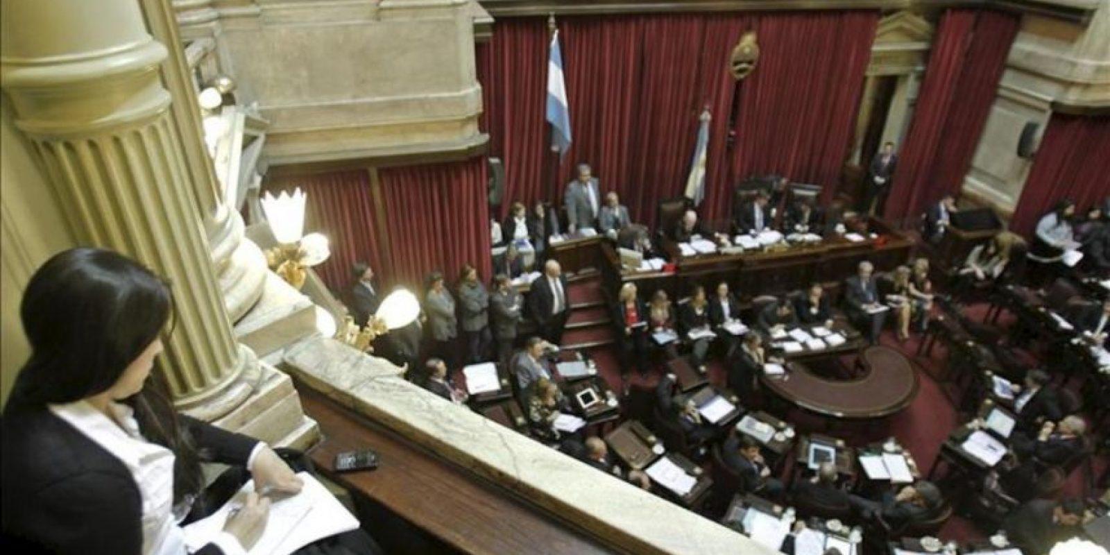 Una periodista acreditada en el Congreso Nacional toma notas en el debate sobre el proyecto de ley que impulsa el Gobierno para la expropiación del 51 por ciento de las acciones de la petrolera YPF a la española Repsol en Buenos Aires (Argentina). EFE