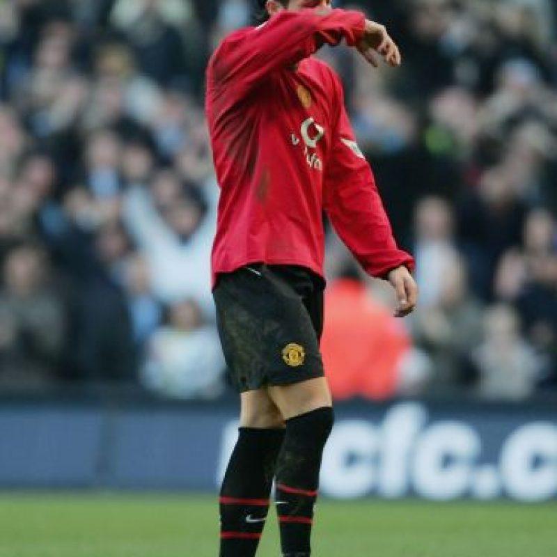 Cuando vestía la roja del Manchester, tras una expulsión en el clásico contra el City (2006), Foto:Getty Images