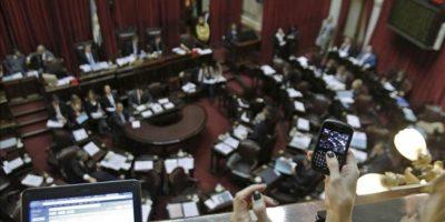 Aspecto del debate en el Congreso Nacional sobre el proyecto de ley que impulsa el Gobierno para la expropiación del 51 por ciento de las acciones de la petrolera YPF a la española Repsol en Buenos Aires (Argentina). EFE