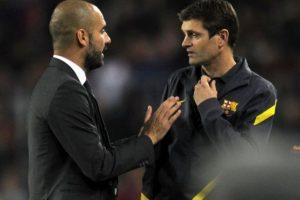 """Discutiendo con """"Pep"""", juegoo contra el Mallorca en noviembre de 2011. Foto:AFP"""