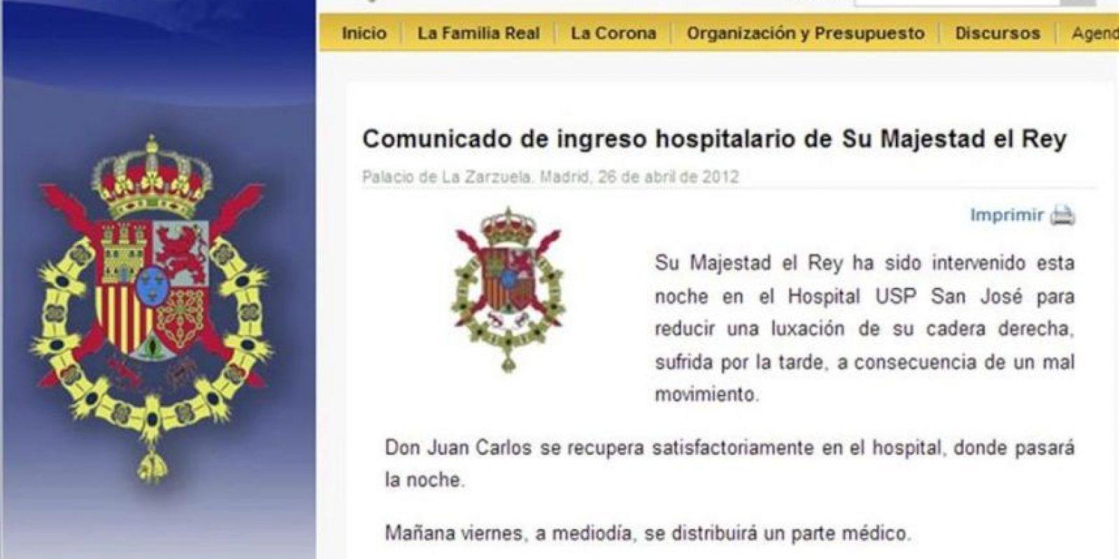 """Imagen del comunicado ofrecido por la Casa Real en su página web en el que informa que el rey Juan Carlos ha sido intervenido esta noche para """"reducir una luxación"""" de la cadera derecha, en la que se le implantó la prótesis. EFE"""