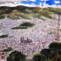 """""""Impresión de Quito"""", de Tong ChangXin, una de las obras que forman parte de la muestra artística """"Pintemos al Ecuador"""", inaugurada en la embajada ecuatoriana en Pekin, con más de 20 obras de siete artistas chinos que en 2011 fueron invitados por este país latinoamericano para captar con sus pinceles su vida, paisajes y costumbres. EFE"""