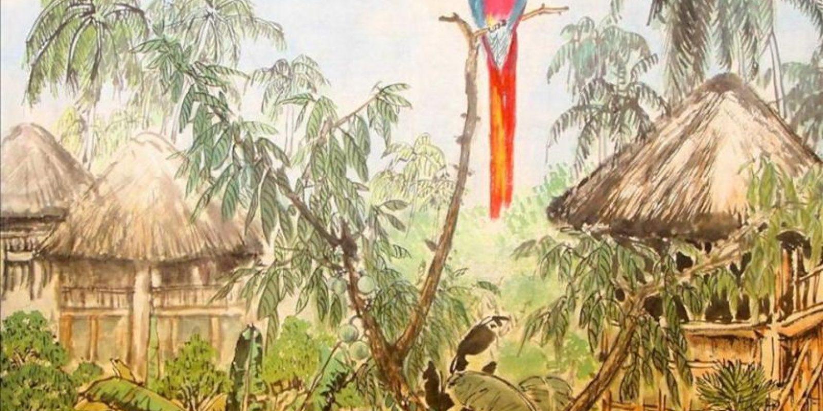 """""""Ecuador"""", de Luo Qin, una de las obras que forma parte de la muestra artística """"Pintemos al Ecuador"""", inaugurada en la embajada ecuatoriana en Pekin, con más de 20 obras de siete pintores chinos que en 2011 fueron invitados por este país latinoamericano para captar con sus pinceles su vida, paisajes y costumbres. EFE"""
