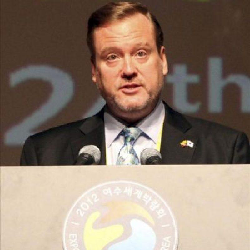 El embajador ecuatoriano en Corea del Sur, Nicolás Trujillo, da un discurso durante las celebraciones por el Día de Ecuador en la Exposición Internacional de Yeosu 2012 hoy en Yeosu (Corea del Sur). EFE/YNA