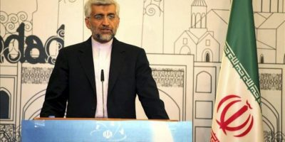 El jefe de las negociaciones iraní en cuestiones nucleares Said Jalili se dirige a los medios de comunicación tras la reunión del grupo 5 e Irán celebrada en Bagdag, Irak hoy 24 de mayo de 2012 para tratar de resolver el contencioso nuclear. Las negociaciones del Grupo 5 con Irán para tratar de resolver el contencioso nuclear terminaron hoy en Bagdad, donde ayer se inauguró la última ronda de conversaciones. EFE