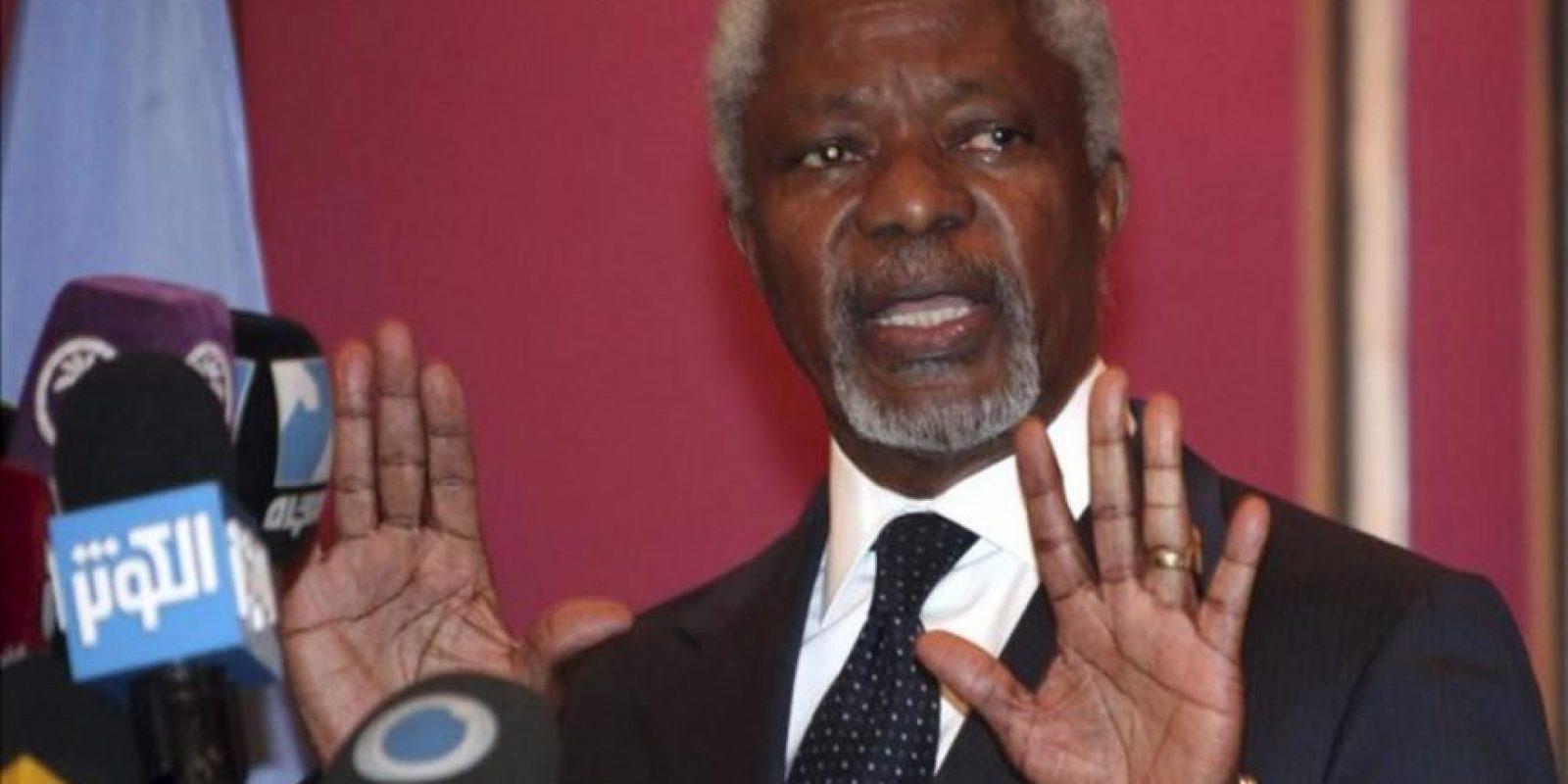 El enviado especial de la ONU y de la Liga Árabe, Kofi Annan, durante una rueda de prensa en Damasco hoy. EFE
