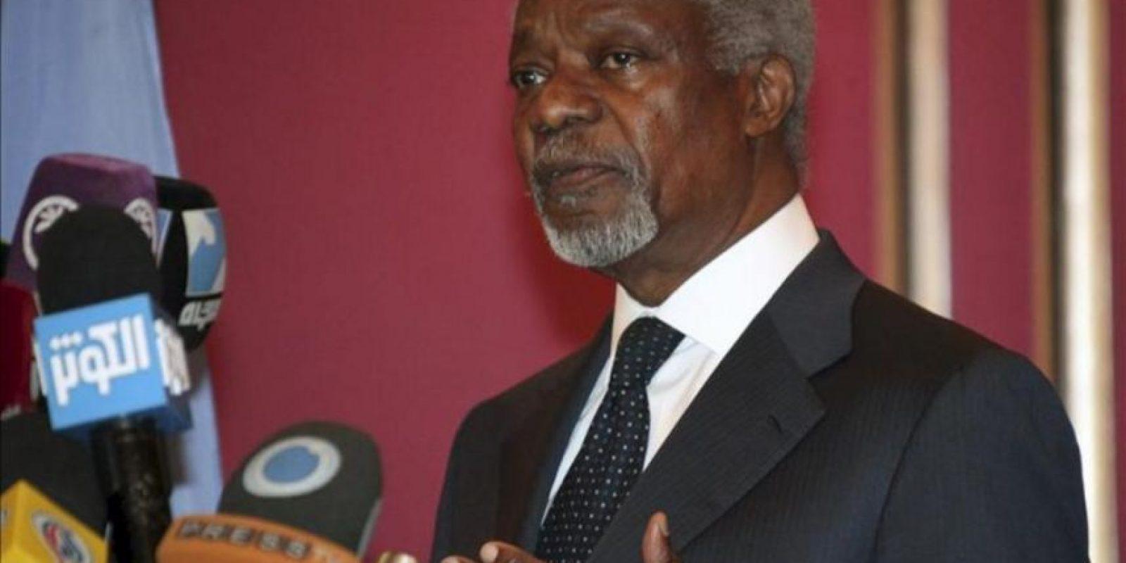 El enviado especial de la ONU y de la Liga Árabe, Kofi Annan, ayer en rueda de prensa en Damasco, Siria. EFE