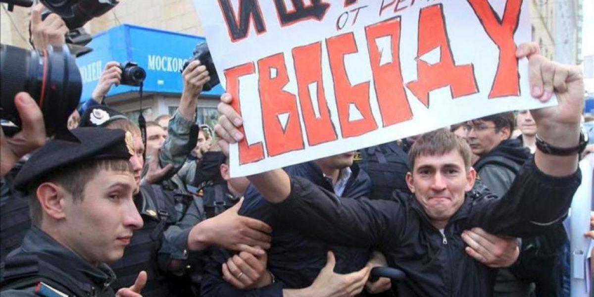 Casi cien detenidos en protesta opositora no autorizada