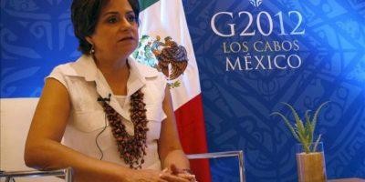 """La canciller mexicana, Patricia Espinosa, durante una entrevista con Efe en Los Cabos (México) donde se realiza la cumbre del G20. Espinosa señaló que cree que existe una voluntad en el pueblo griego de mantenerse dentro del esquema de la Eurozona y """"seguir fortaleciendo ese proceso de integración"""". EFE"""