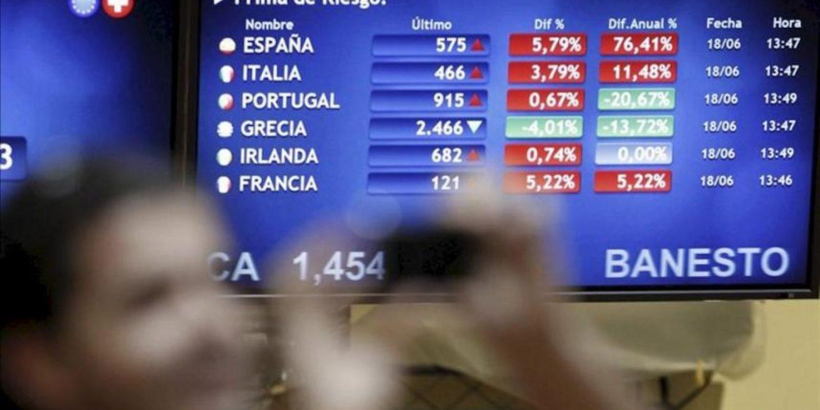 Peneles informativos sobre la prima de riesgo española -que mide el diferencial entre la rentabilidad del bono alemán a diez años y su equivalente nacional- en la Bolsa de Madrid. EFE