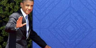 El presidente de Estados Unidos, Barack Obama arriba hoy , 18 de junio de 2012 al Centro Internacional de Convenciones G20 de la ciudad de Los Cabos en el mexicano estado de Baja Califronia previo en el marco de la Reunión Cumbre de Líderes del G20 .EFE