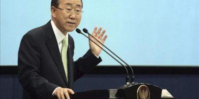 En la imagen, el secretario general de las Naciones Unidas, Ban Ki Moon (izq). EFE/Archivo