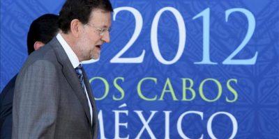 El presidente del Gobierno español, Mariano Rajoy, a su llegada ayer 18 de junio de 2012, al Centro Internacional de Convenciones G20 de la ciudad de Los Cabos, en el mexicano estado de Baja California, en el marco de la reunión del G20. EFE