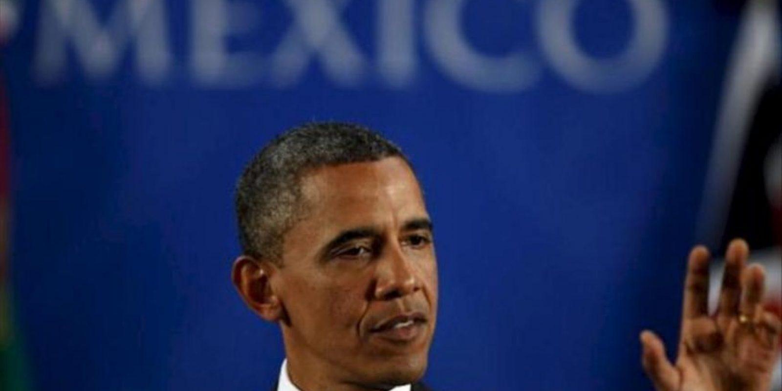 El Presidente de los Estados Unidos Barack Obama habla hoy , 19 de junio de 2012 durante una rueda de prensa final tras su participación en la Reunión cumbre de Mandatarios de los países miembros del Grupo de los Veinte (G20) que concluye hoy en Los Cabos, noroeste de México.EFE