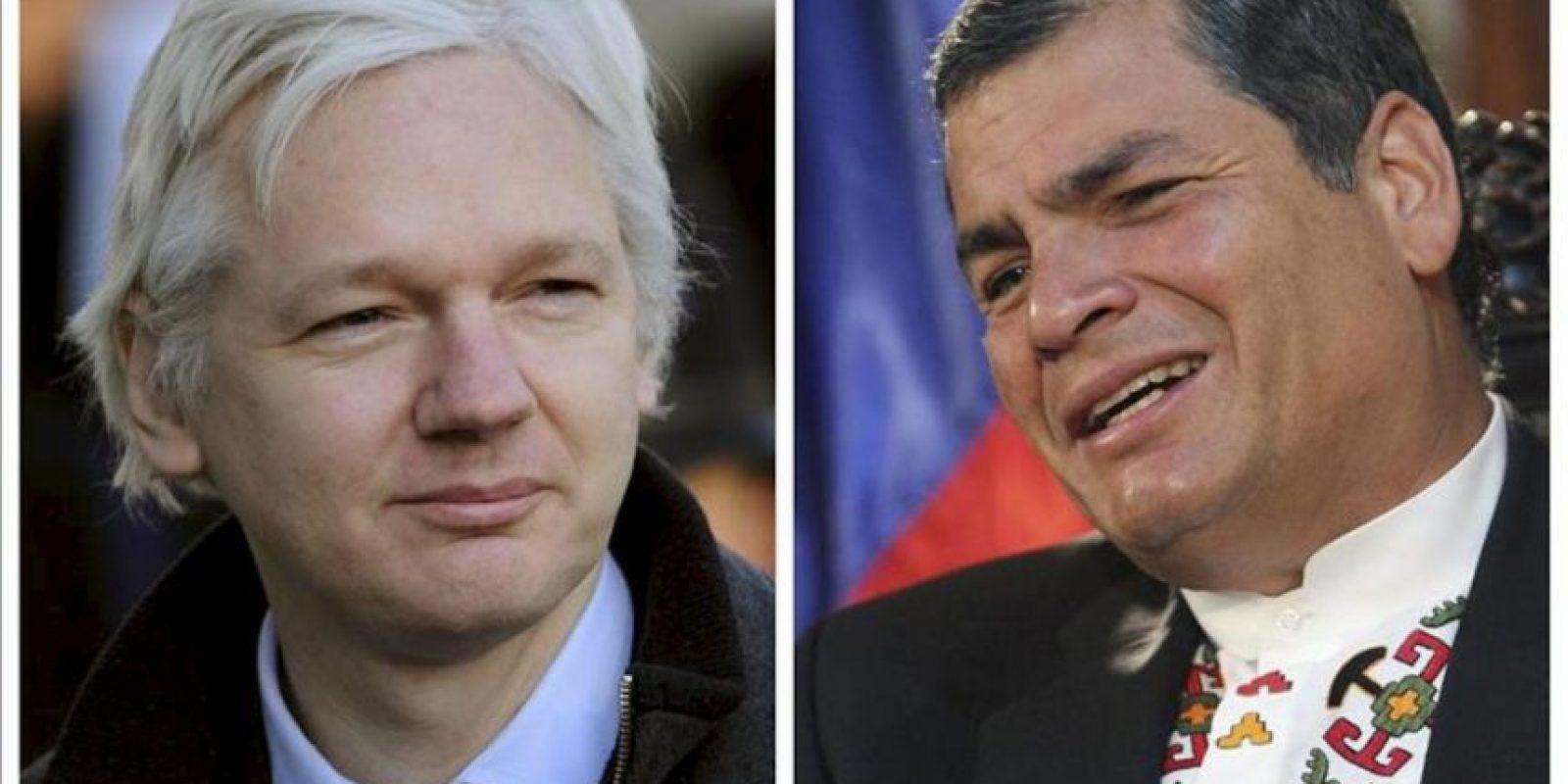 Combo fotográfico que muestra al fundador de WikiLeaks, Julian Assange (i), y al presidente ecuatoriano, Rafael Correa (d). La Policía Metropolitana de Londres advirtió hoy de que Julian Assange ha violado las condiciones de su arresto domiciliario en el Reino Unido, al refugiarse en la Embajada de Ecuador en la capital británica, y podría ser detenido. EFE
