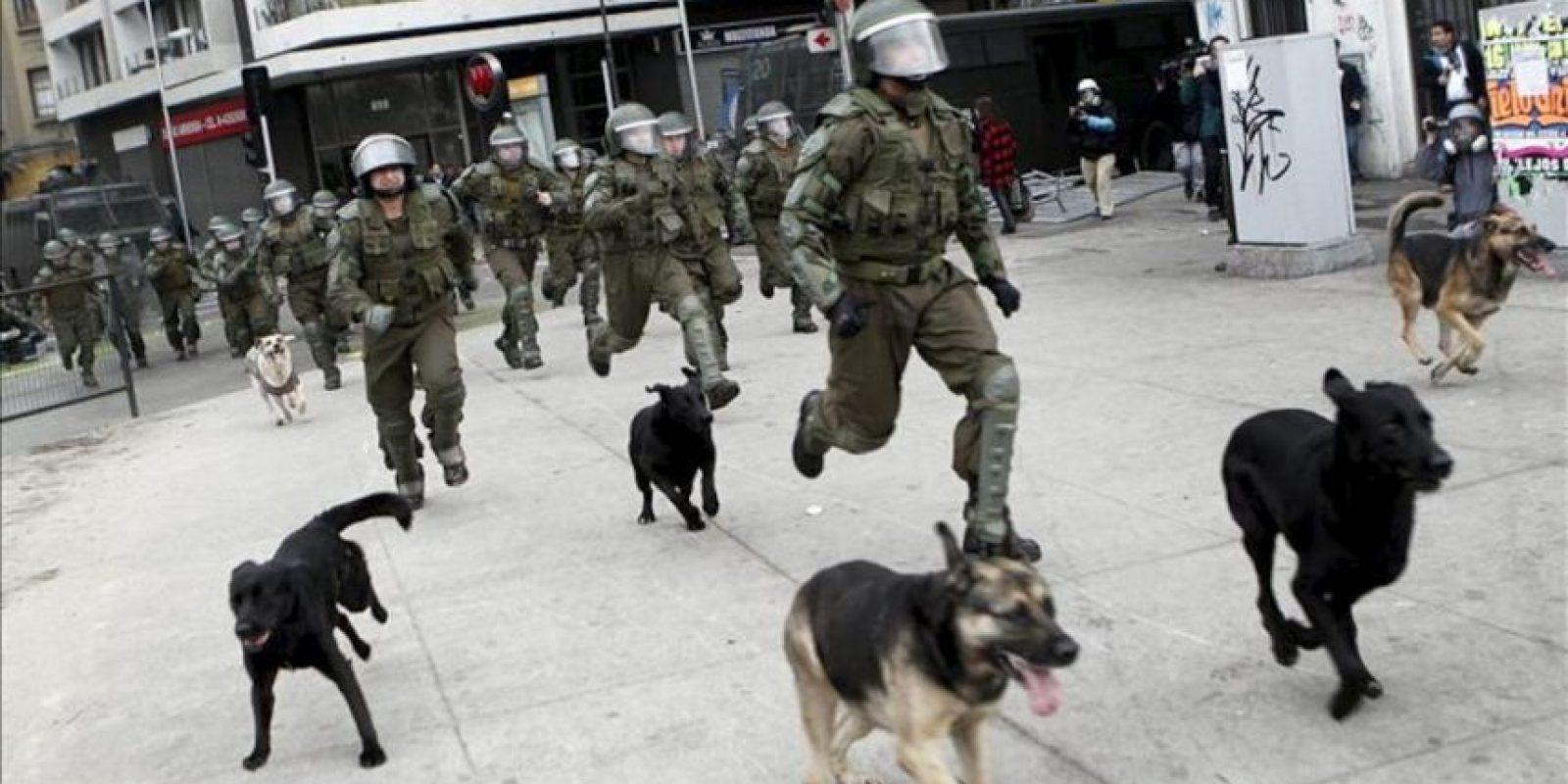 Un grupo de carabineros corre hacia el lugar de concentración de varios manifestantes, este 20 de junio, durante los incidentes que se presentaron en las calles de Santiago de Chile. EFE