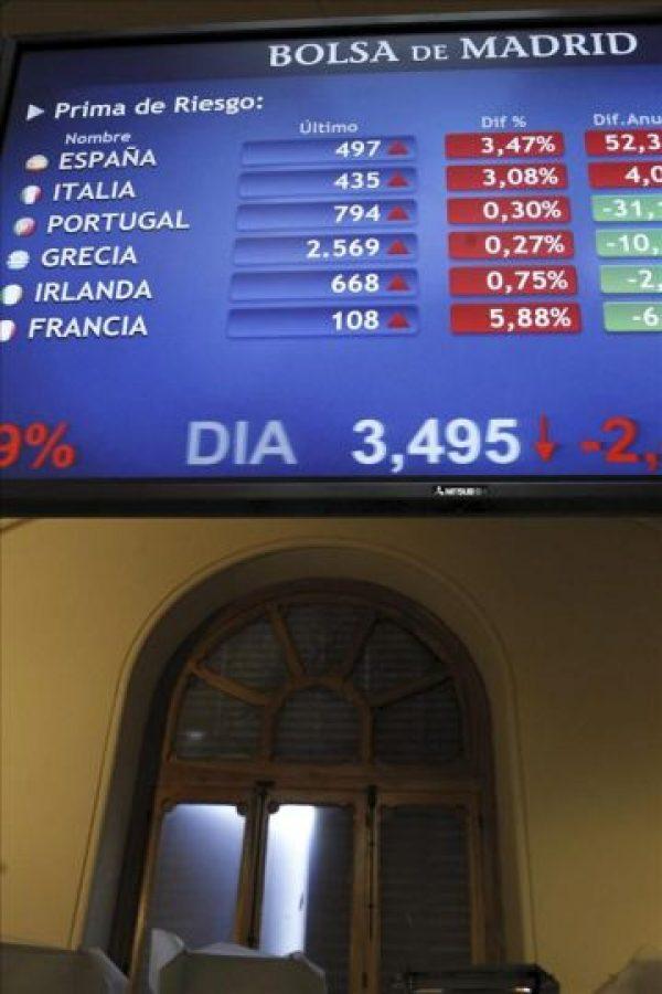 Monitores en la Bolsa de Madrid que muestran las primas de riesgo de distintos países entre ellas la española, que mide el diferencial entre la rentabilidad del bono alemán a diez años y el nacional. EFE