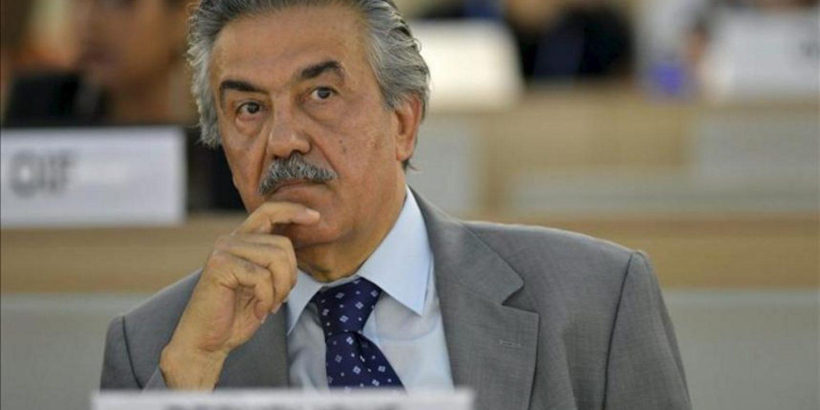 El embajador sirio ante la ONU, Faysal Khabbaz Hamoui, durante la presentación del informe de la Comisión de Investigación Independiente sobre Siria, en la vigésima sesión del Consejo de Derechos Humanos en la sede de Naciones Unidas en Ginebra, Suiza, el 27 de junio. EFE
