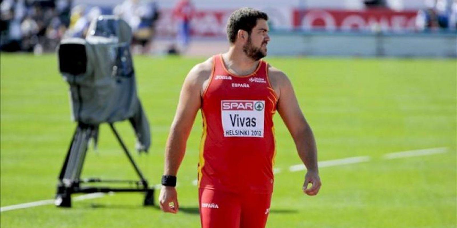 El atleta español Borja Vivas participa en la fase clasificatoria de la prueba de lanzamiento de peso de los Campeonatos de Europa de atletismo que se disputan en el Estadio Olímpico de Helsinki (Finlandia) hoy, miércoles 27 de junio de 2012. EFE