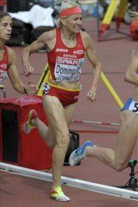La atleta española Marta Domínguez hace una mueca de dolor durante su participación en la primera serie de los 3000 metros obstáculos de los Campeonatos de Europa de Atletismo disputada hoy, jueves 28 de junio de 2012 en Helsinki (Finlandia). EFE