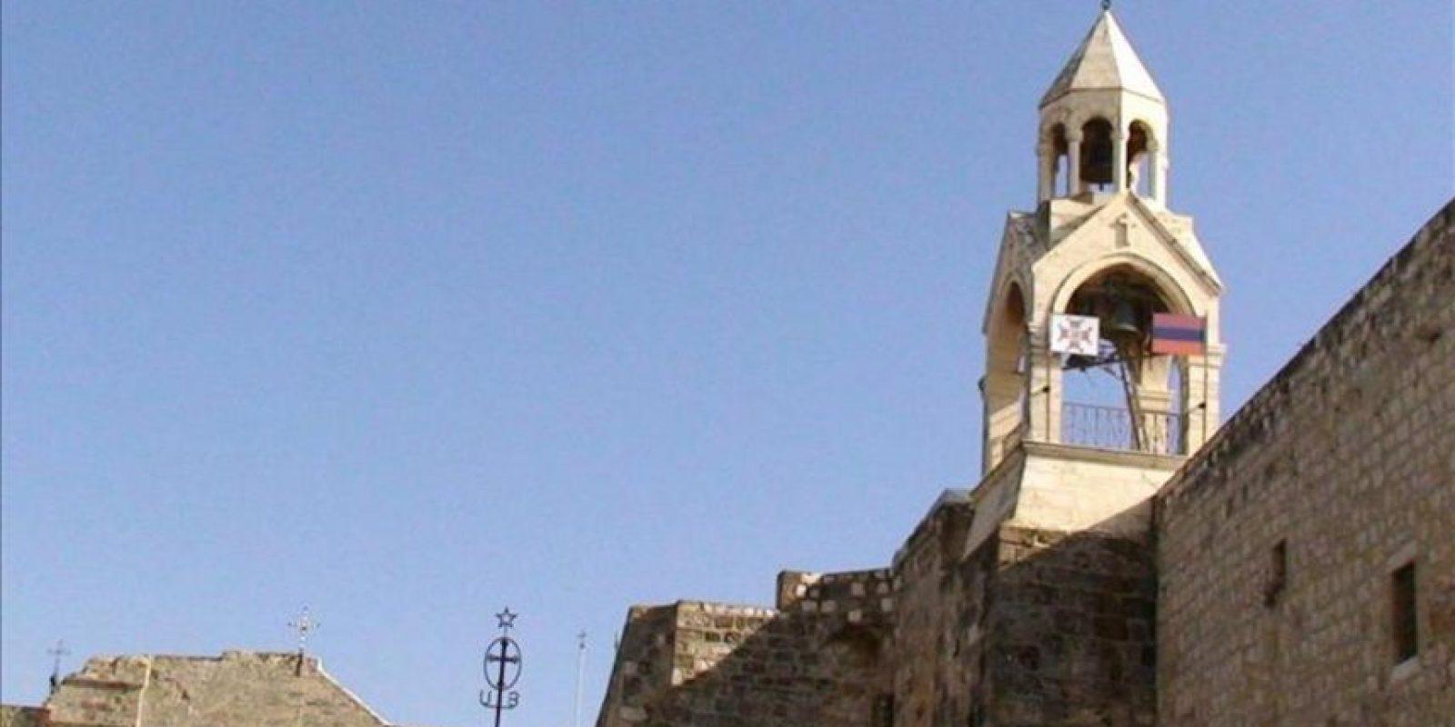 Vista del campanario de la Basílica de la Natividad de Belén. EFE/Archivo