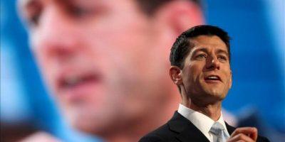 El candidato republicano a la vicepresidencia Paul Ryan pronuncia su discurso durante la tercera jornada de la Convención Nacional Republicana en el Times Forum de Tampa, Florida (EE.UU.). EFE