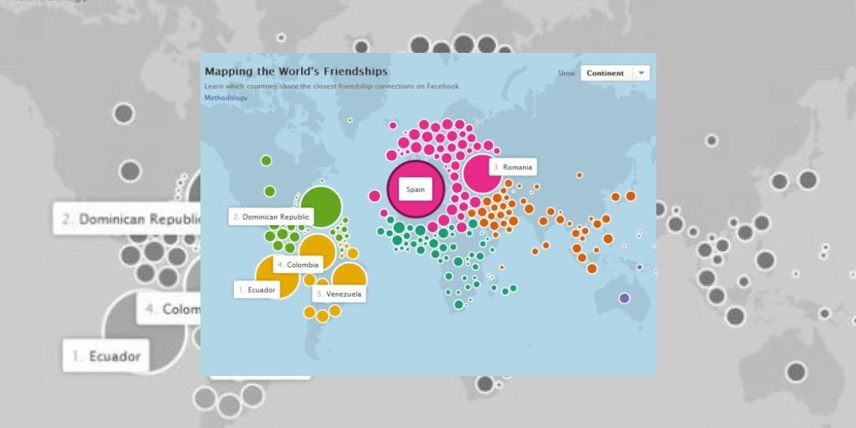 Mapa de la amistad de Facebook muestra la relación entre las naciones