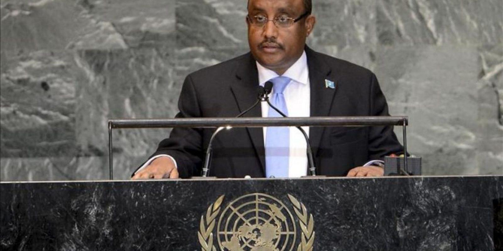 El primer ministro del Gobierno Federal de Transición de Somalia, Abdiweli Mohamed Ali,pronuncia un discurso durante la 67 Asamblea General de las Naciones Unidas en la sede del organismo en Nueva York. EFE