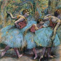 Imagen cedida por la Funación Beyerler de la obra Trois Danseuses (Jupes bleues, corsages rouges -1902) de Edgar Degas, que forma parte de una exposición retrospectiva que dedica la Fundación Beyeler, de Basilea, a las obras tardías de este autor, influenciadas por la corriente del Modernismo y por una clara obsesión por el éxtasis cromático. EFE