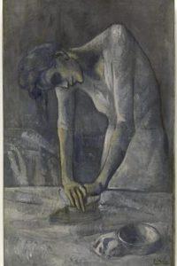 """Reproducción de la obra """"Mujer Planchando"""" del pintor español Pablo Picasso, cedida por el museo Guggenheim. EFE"""