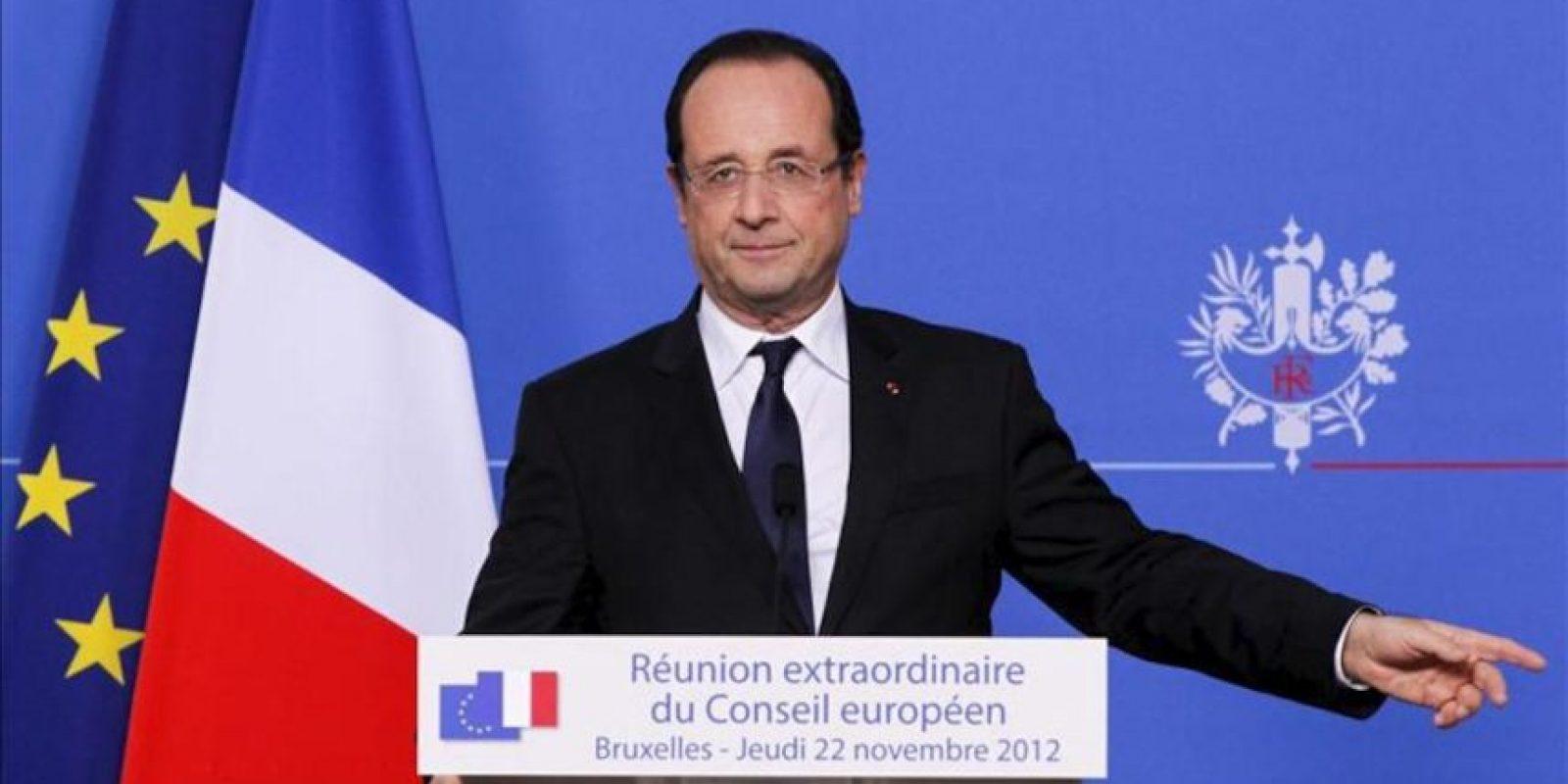 El presidente francés, Francois Hollande, comparece con motivo de la cumbre extraordinaria para negociar el presupuesto plurianual para 2014-2020. EFE