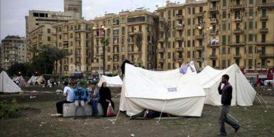 Aspecto de la acampada de protesta contra el presidente Mursi, en la plaza Tahrir de El Cairo. EFE