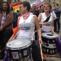 Con tambores y canticos manifestantes pedían al Congreso no votar por la reelección del procurador Ordoñez. Foto:Publimetro