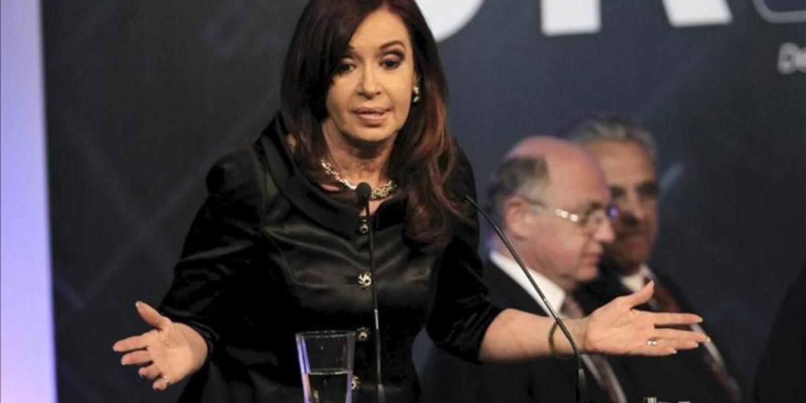 La presidenta de Argentina, Cristina Fernández de Kirchner, en el cierre de la décimo octava edición de la conferencia anual de la Unión Industrial Argentina (UIA), ayer 28 de noviembre, en Los Cardales. EFE/Archivo