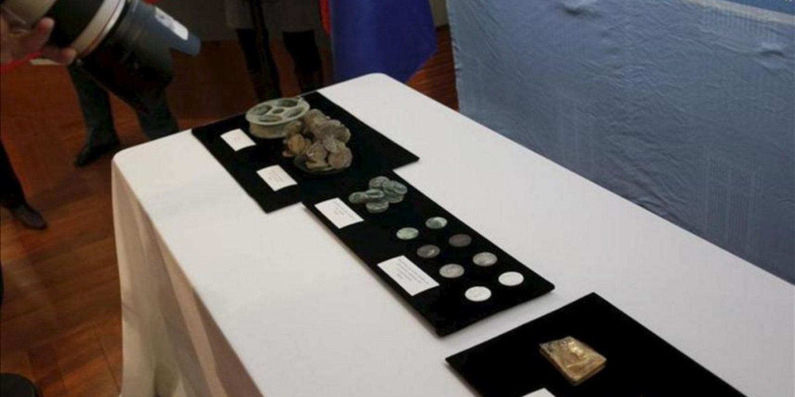 """Material expuesto que forma parte del tesoro de la fragata """"Nuestra Señora de las Mercedes. EFE"""
