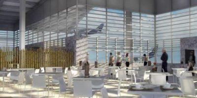 Imagen digital cedida por Corporación América este 19 de diciembre, del diseño de una zona interior de una terminal aeroportuaria ecológica ubicada en las islas ecuatorianas de Galápagos. EFE