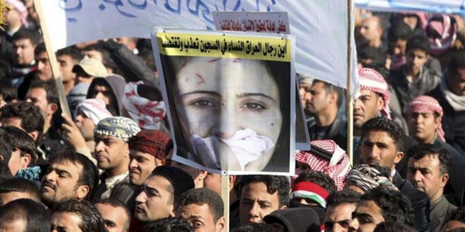 Miles de iraquíes suníes participan en una manifestación antigobierno en Ramadi, oeste de Irak, hoy, miércoles 26 de diciembre de 2012. EFE