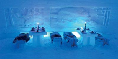 El restaurante Lainio en Finlandia es construido de hielo y nieve cada invierno Foto:Dailypix