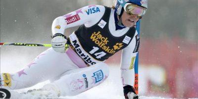 La eslovena Lindsey Vonn, hoy durante la primera manga de la Copa del Mundo de esquí alpino en la modalidad dwe gigante, en Maribor. EFE