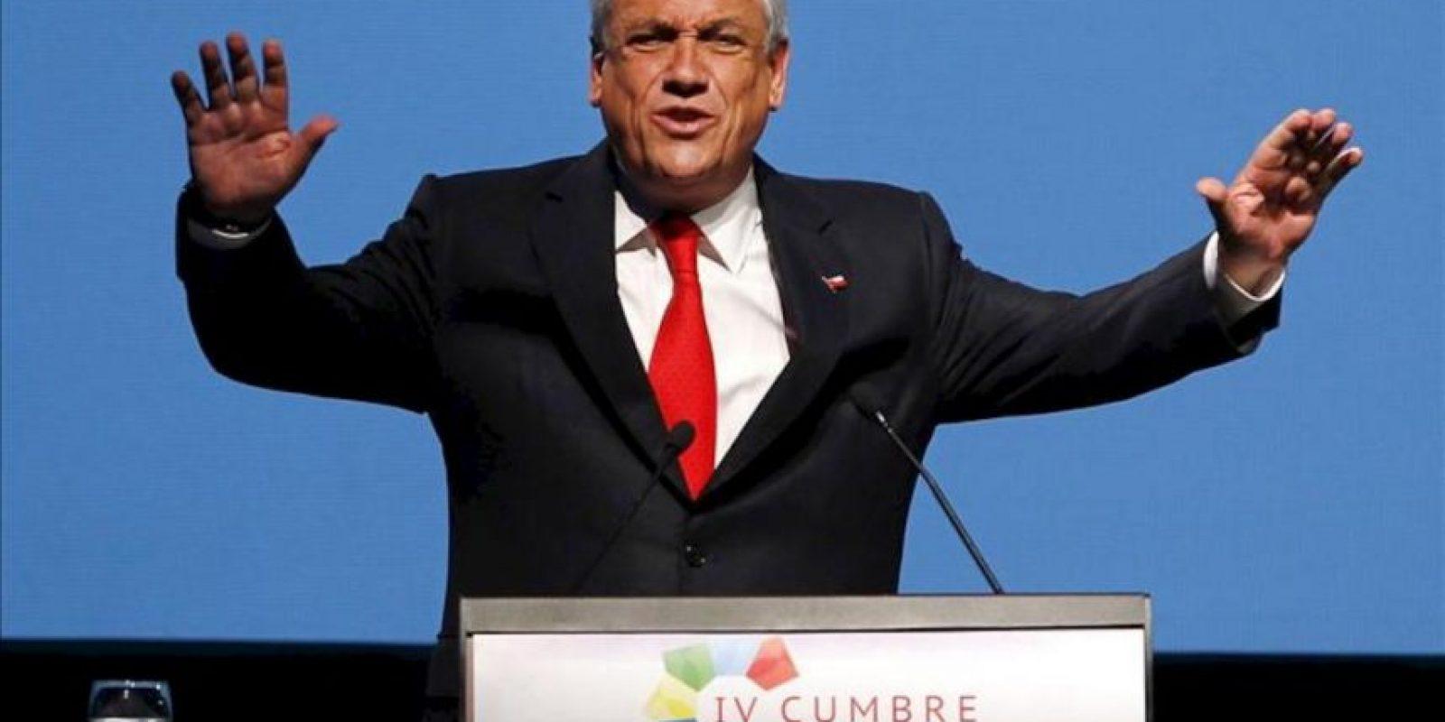 El presidente de Chile, Sebastián Piñera, interviene en la clausura de la IV Cumbre Empresarial de la Comunidad de Estados Latinoamericanos y Caribeños (CELAC) y la Unión Europea (UE), en Santiago de Chile. EFE
