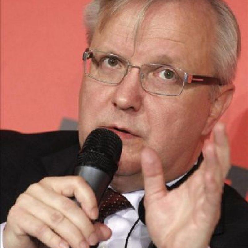 El vicepresidente de la Comisión Europea (CE) y responsable de Asuntos Económicos y Monetarios, Olli Rehn, hoy, en Madrid durante la celebración del 40 aniversario de la Confederación de Sindicatos Europeos. EFE