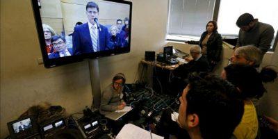 Un monitor de la sala de prensa del Juzgado número 21 de lo Penal de Madrid, durante la declaración hoy del doctor Eufemiano Fuentes, en el juicio por la Operación Puerto contra el dopaje en el deporte. EFE