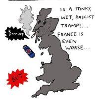 """""""""""Gris Bretaña"""", es apestosa, gris y racista. Francia es peor"""" Foto:The Guardian"""