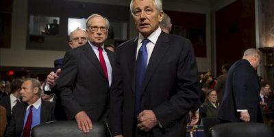 El exsenador republicano por Nebraska Chuck Hagel (c), nominado por el presidente de EE.UU., Barack Obama, como nuevo secretario de Defensa. EFE