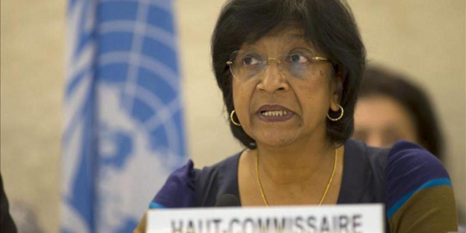 La Alta Comisionada de los Derechos Humanos de la ONU, la sudafricana Navanethem Pillay, da un discurso durante el encuentro de alto nivel de la 22ª sesión del Consejo de Derechos Humanos celebrado en la sede europea de las Naciones Unidas hoy, lunes 25 de febrero de 2013 en Ginebra. EFE