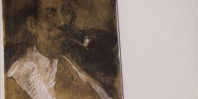 """""""Personaje con pipa"""" es el título de la obra inédita que podría ser obra de Pablo Picasso y que ha aparecido en el reverso del cuadro """"Retrato de la madre del artista"""" (1896), durante su restauración, y que se ha presentado hoy en Barcelona. EFE"""