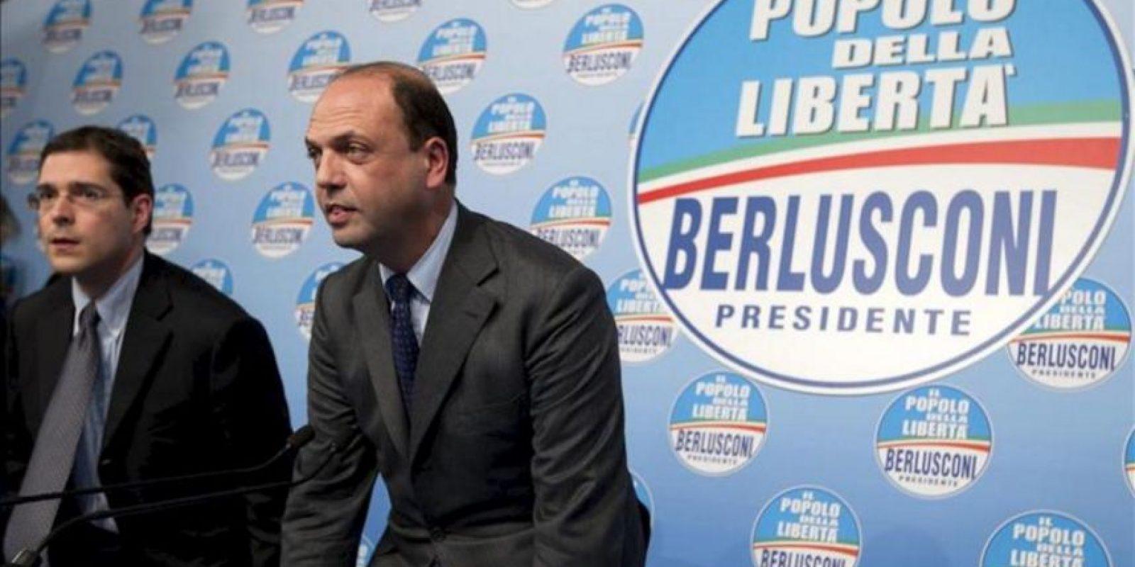 """Angelino Alfano, el secretario político del partido """"El Pueblo de la Libertad"""", en una rueda de prensa en Roma. EFE"""